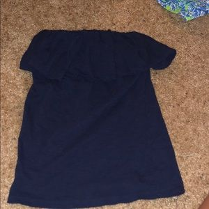 Lily Pulitzer Navy Ruffle Strapless Top
